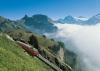 Schynige Platte-Bahn vor der Einfahrt in die Bergstation